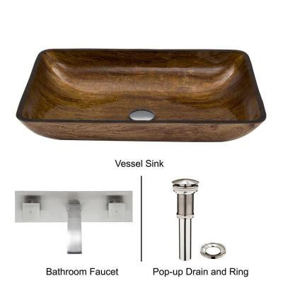 Rectangular Glass Vessel Sink in Amber Sunset with Wall-Mount Faucet Set in Brushed Nickel