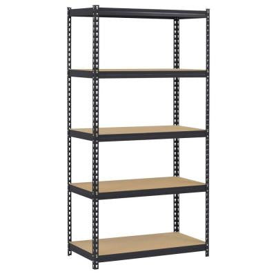 72 in. H x 36 in. W x 18 in. D 5-Tier Steel Shelving Unit in Black