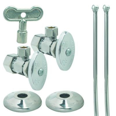 Faucet Kit: 1/2 in. Nom Comp x 3/8 in. O.D. Comp Brass Multi-Turn Angle Valve with Brass Stem, 12 in. Riser and Flange