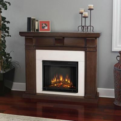 Porter 50 in. Electric Fireplace in Vintage Black Maple