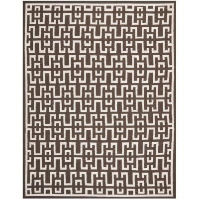 Dhurries Chocolate / Ivory 8 ft. x 10 ft. Area Rug
