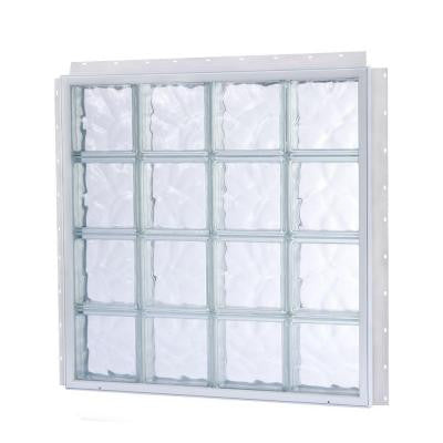 13.875 in. x 13.875 in. NailUp2 Wave Pattern Solid Glass Block Window