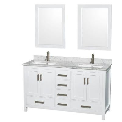Sheffield 60 in. Double Vanity in White with Marble Vanity Top in Carrara White and 24 in. Mirrors