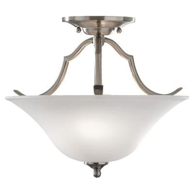 Beckett 2-Light Brushed Steel Semi-Flush Mount Light