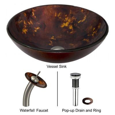 Glass Vessel Sink in Brown and Gold Fusion with Waterfall Faucet Set in Brushed Nickel