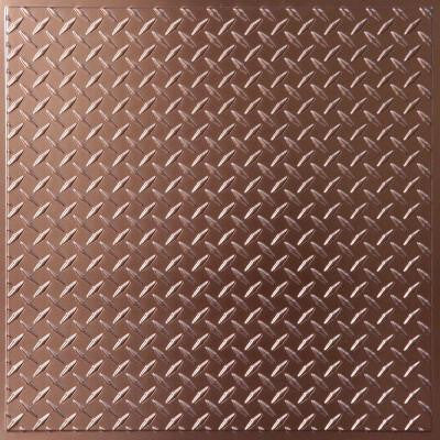 Diamond Plate Faux Copper 2 ft. x 2 ft. Lay-in or Glue-up Ceiling Panel (Case of 6)
