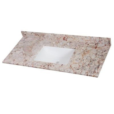 49 in. Stone Effects Vanity Top in Rustic Gold with White Basin