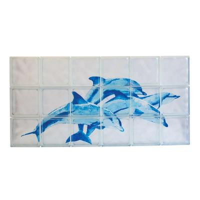48 in. x 24 in. x 4 in. Decora Pattern Blue Dolphin Glass Block Mural