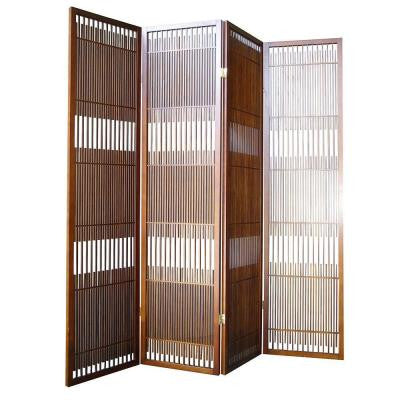 4-Panel Wood Room Divider in Walnut