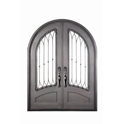 74 in. x 98 in. Concord Classic 3/4 Lite Painted Oil Rubbed Bronze Decorative Wrought Iron Prehung Front Door