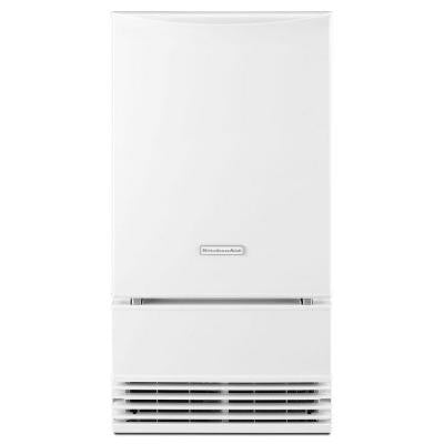 18 in. 50 lb. Freestanding or Built-In Icemaker with Drain Pump in White