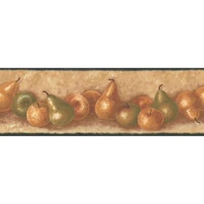 6.83 in. x 15 ft. Green and Brown Earth Tone Traditional Fruit Border