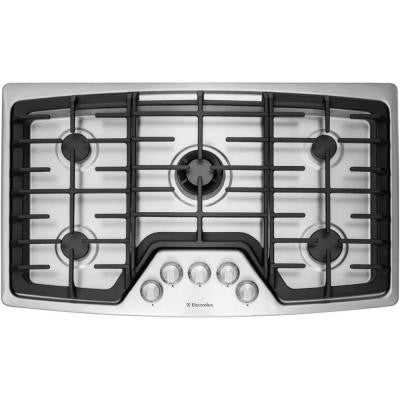 WaveTouch 36 in. Gas Cooktop in Stainless Steel with 5 Burners and Min-2-Max Burner