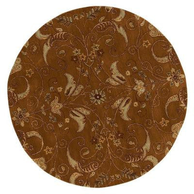 Ansley Dark Gold 5 ft. 5 in. Round Area Rug