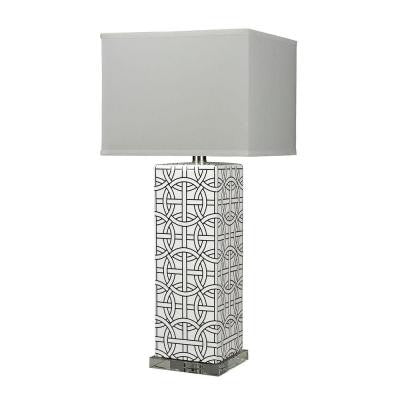Linked Rings 31 in. Gloss White and Royal Blue Table Lamp with Shade