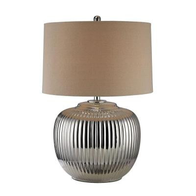 Ribbed Ceramic 27 in. Silver Plate Table Lamp with Shade