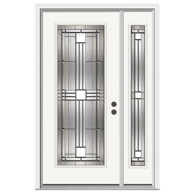 36 in. x 80 in. Cordova Full Lite Primed Premium Steel Prehung Front Door with Right Hand Sidelite