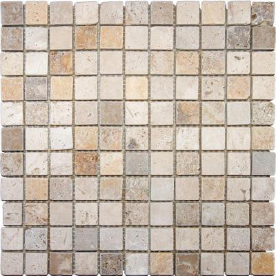 Mixed 12 in. x 12 in. x 10 mm Tumbled Travertine Mesh-Mounted Mosaic Tile