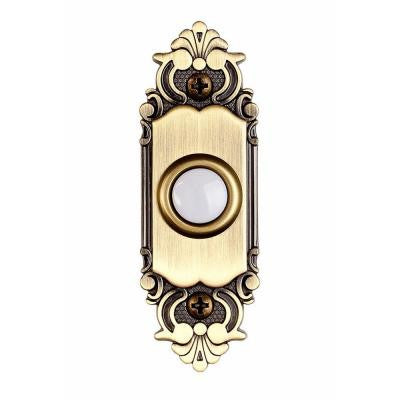 Wired Lighted Door Bell Push Button - Antique Brass