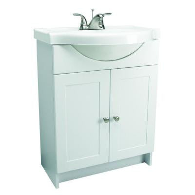 31 in. Euro Style Vanity in White with Cultured Marble Belly Bowl Vanity Top in White