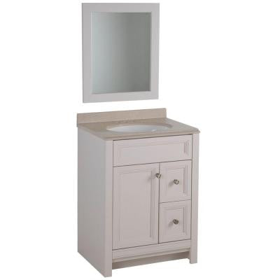 Brinkhill 24 in. W x 18 in. D Vanity in Cream with Colorpoint Vanity Top in Maui with White Basin and Mirror
