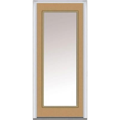 36 in. x 80 in. Clear Glass Full Lite Painted Fiberglass Smooth Prehung Front Door