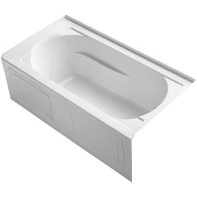 Devonshire 5 ft. Right-Hand Drain Integral April Tile Flange Bathtub in White
