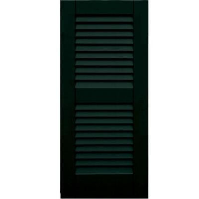 Wood Composite 15 in. x 34 in. Louvered Shutters Pair #654 Rookwood Shutter Green