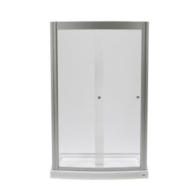 Ovation 48 in. x 75.25 in. Framed Sliding Shower Door in Satin Nickel with 48 in. x 30 in. Base in Arctic