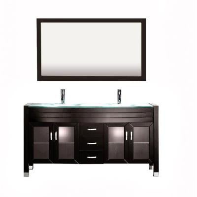 Amriel 59 in. Double Vanity in Espresso with Glass Vanity Top in Aqua and Mirror