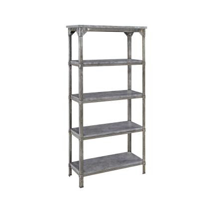 Urban Style 5-Tier Decorative Shelving Bookcase in Aged Metal