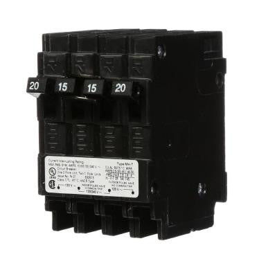 20 Amp Double-Pole and Two 15 Amp Single-Pole Type MP-T Triplex Circuit Breaker