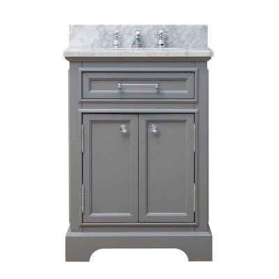 24 in. W x 21.5 in. D x 34 in. H Vanity in Cashmere Grey with Marble Vanity Top in Carrara White