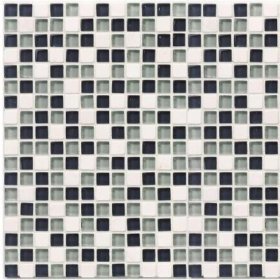 Classic Check 12 in. x 12 in. x 8 mm Glass Marble Mosaic Tile