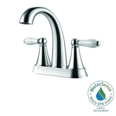Kaylon 4 in. Centerset 2-Handle High-Arc Bathroom Faucet in Polished Chrome and Ceramic