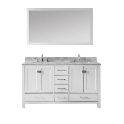 Caroline Avenue 60 in. Double Square Vanity in White with Marble Vanity Top in Italian Carrara White and Mirror