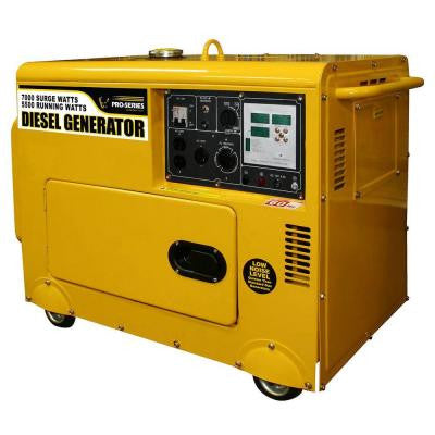 7,000-Watt Diesel Generator with Digital Control Panel and Remote Start