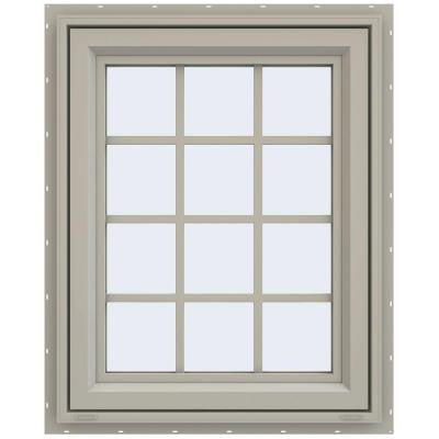 23.5 in. x 29.5 in. V-4500 Series Right-Hand Casement Vinyl Window with Grids - Tan
