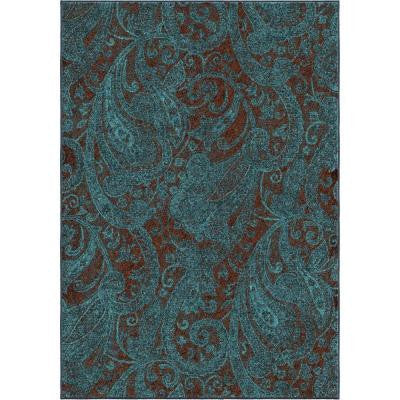 Delightful Paisley Blue 6 ft. 7 in. x 9 ft. 8 in. Indoor Area Rug