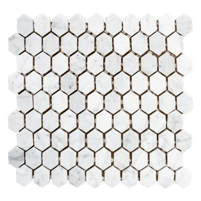 Cararra Constellation 10-7/8 in. x 11-5/8 in. x 8 mm Marble Mosaic Tile