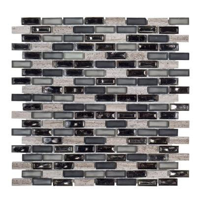Coal Mine 11-1/2 in. x 11-5/8 in. x 6 mm Glass/Stone Mosaic Tile