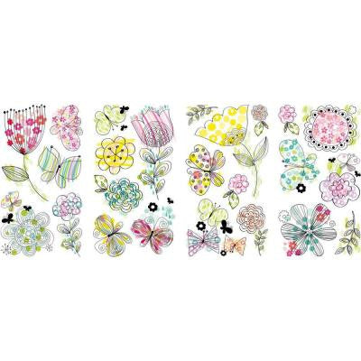 5 in. x 11.5 in. Pastel Floral 24-Piece Peel and Stick Wall Decal