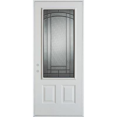 36 in. x 80 in. Chatham Patina 3/4 Lite 2-Panel Prefinished White Steel Prehung Front Door