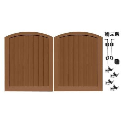 Pro Series 5 ft. x 6 ft. Brown Vinyl Anaheim Privacy Double Drive Through Arched Fence Gate