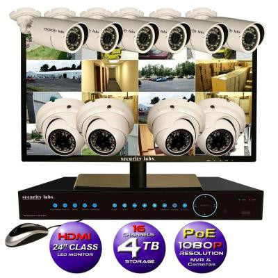 16CH High Definition 1080P IP POE-NVR Surveillance System with 4TB Hard Drive, 10 Cameras,24in HDMI LED Monitor and Apps