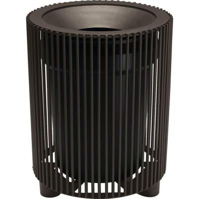 Grand Isle 32 Gal. Textured Bronze Contract Trash Can with Liner and Flat Top