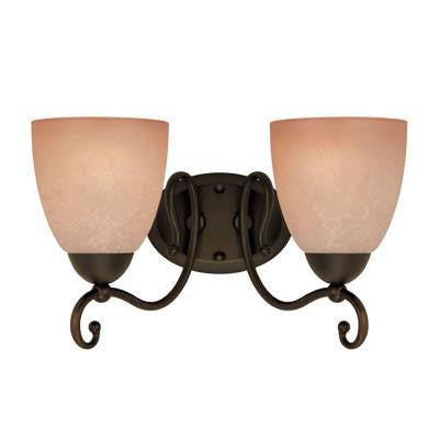2-Light Oil Rubbed Bronze Interior Wall Fixture with Aged Alabaster Glass