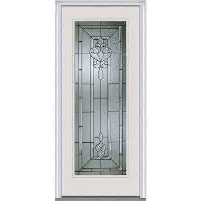 36 in. x 80 in. Fontainebleau Decorative Glass Full Lite Primed White Builder's Choice Steel Prehung Front Door