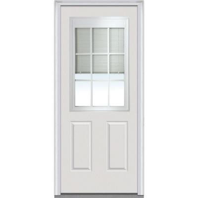 34 in. x 80 in. Internal Mini Blinds 1/2 Lite 2-Panel Primed White Fiberglass Smooth Prehung Front Door with Muntins