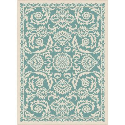 Garden City Aqua 5 ft. 3 in. x 7 ft. 3 in. Transitional Area Rug